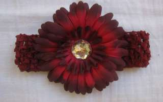 Burgundy Daisy Flower Clip Crochet Headband Girl Baby