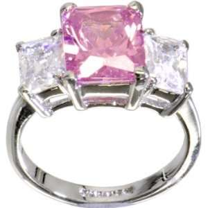 PINK .80 Carat Cubic Zirconia RECTANGLE TRIO Ring   Size 8 Jewelry