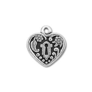 Antique Silver Plated Pewter Victorian Heart Frame Charm