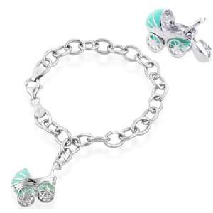 Sterling Silver Blue Enamel Baby Carriage Charm Bracelet 7.5 Jewelry
