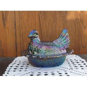 Hen on Lacy Nest 2 Piece Covered Dish Purple Amethyst Carnival Glass