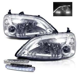 Honda Civic 2/4 Door Chrome LED Head Lights + LED Bumper Fog Lamp New