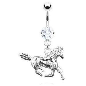 Dangling Surgical Steel Running Horse Belly Button Navel Ring Dangle