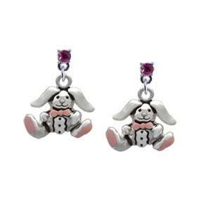 Silver Sitting Bunny with Easter Egg Hot Pink Swarovski