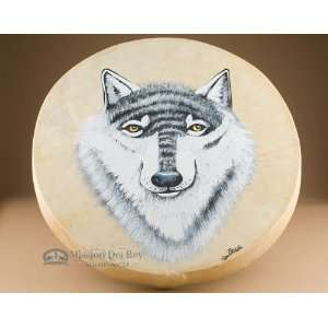 Native American Painted Drum 16  Wolf (pd33) Musical