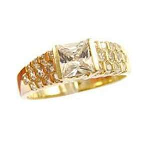 Gold, Fancy Engagement Lady Ring Princess Cut Created Gems Jewelry