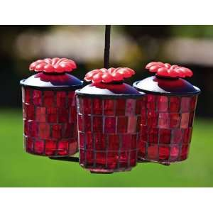 3 Piece Red Glass Mosaic Hummingbird Feeder Patio, Lawn & Garden