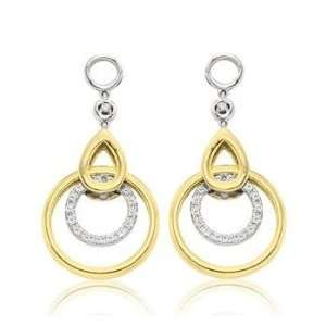14k Two Tone Gold Diamond Double Circle Earring Charms Jewelry