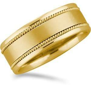 Gold Promise Wedding Band with a Satin Finish and Twisted Rope Grooves