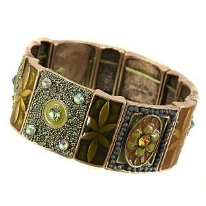 Fashion Jewelry Desinger Inspired Brass Oxidized Green Flower Bracelet