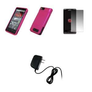 Motorola Droid X MB810   Premium Hot Pink Rubberized Snap On Cover
