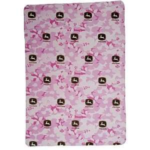 John Deere Pink Camo Fleece Throw
