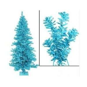 Pre Lit Sky Blue Wide Cut Tinsel Artificial Christmas Tree   Teal