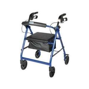 Aluminum Rollator with Fold Up and Removable Back Support, Padded Seat
