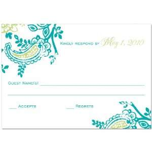 Cari Teal And Green Rsvp Cards On White