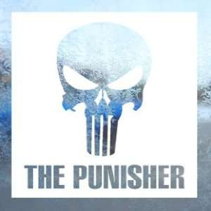 PUNISHER SKULL White Decal Car Laptop Window Vinyl White