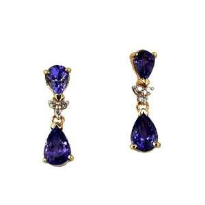 Ladies Tanzanite & Diamond Earring in 14k Yellow Gold (TCW