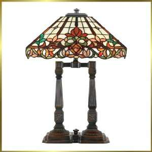 Tiffany Table Lamp, QZTF235TVA, 2 lights, Antique Bronze, 18 wide X