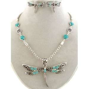 Fashion Jewelry ~ Turquoise Crystals Beads Dragonfly Necklace