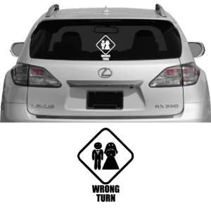 Wrong Turn Wedding   Vehicle Decal, Car Decal, Bumper Sticker, Laptop