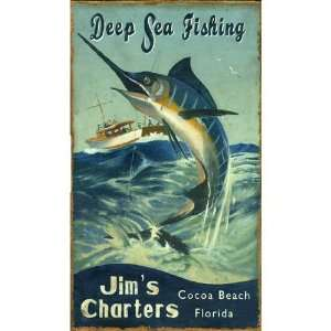 Marlin Deep Sea Fishing Vintage Style Wooden Sign