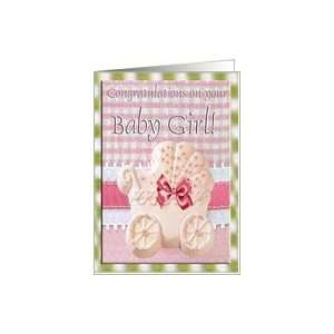 Congratulations, Girl, Baby Carriage on Pink Gingham Card