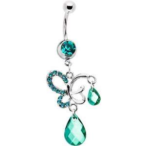 Zircon Blue Gem Dream Butterfly Belly Ring Jewelry