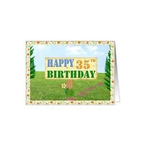 Happy 35th Birthday Sign on Footpath Card Toys & Games
