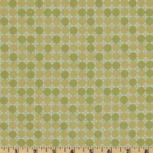 44 Wide Neutral Territory Dots Green Fabric By The Yard