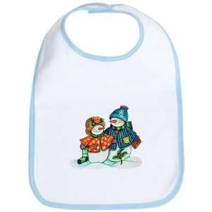 Baby Bib Sky Blue Christmas Snow Couple Snow Men