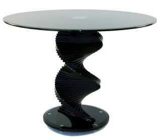 TransDeco 42 Round Black Glass Dining Table   NEW