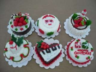 Set of 6 Merry Christmas Cakes Dollhouse Miniatures Food Supply Deco 1