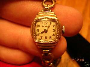 ART DECO 10K LADIES WATCH BENRUS TRIPLE STEP PATTERN